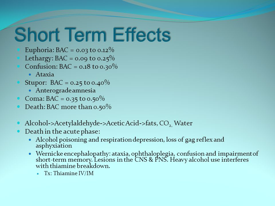 Short Term Effects Euphoria: BAC = 0.03 to 0.12%