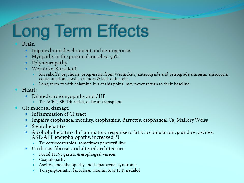 Long Term Effects Brain Heart: GI: mucosal damage