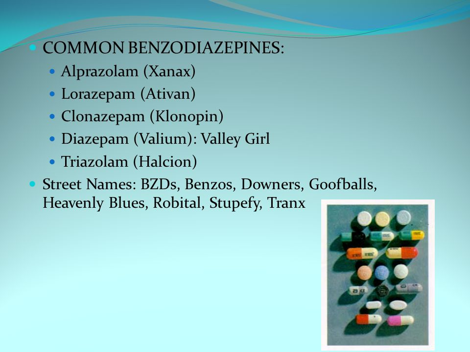 COMMON BENZODIAZEPINES: