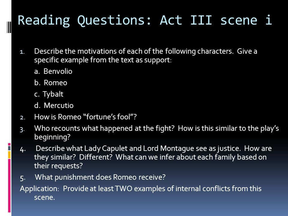 Reading Questions: Act III scene i