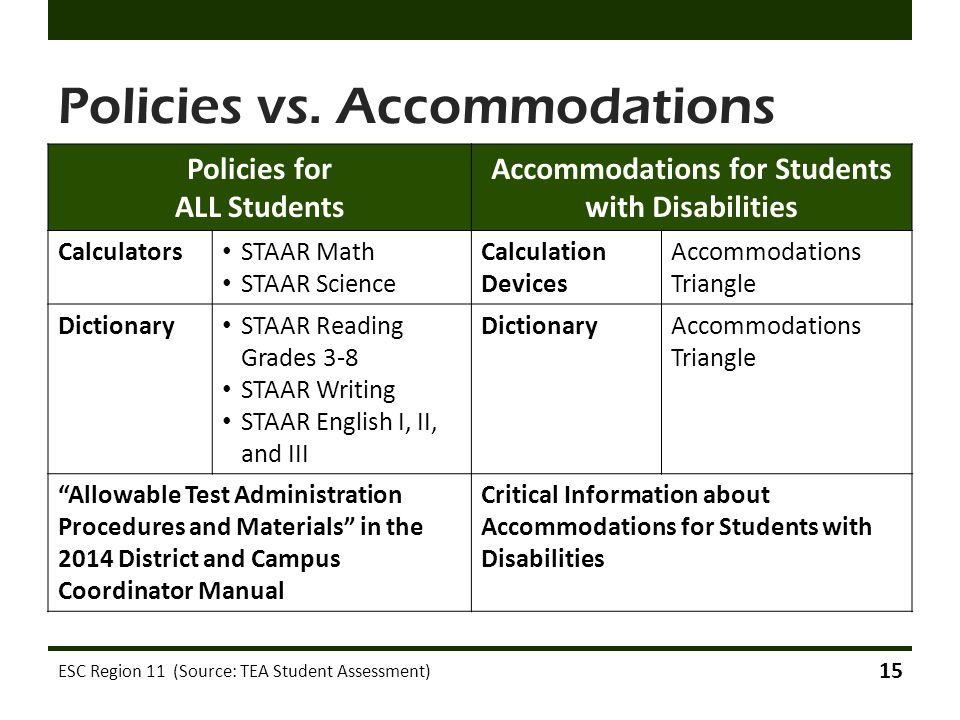 Policies vs. Accommodations