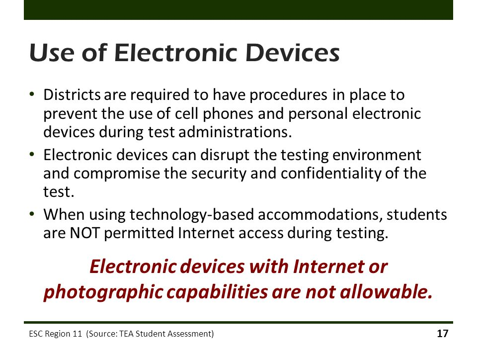Use of Electronic Devices