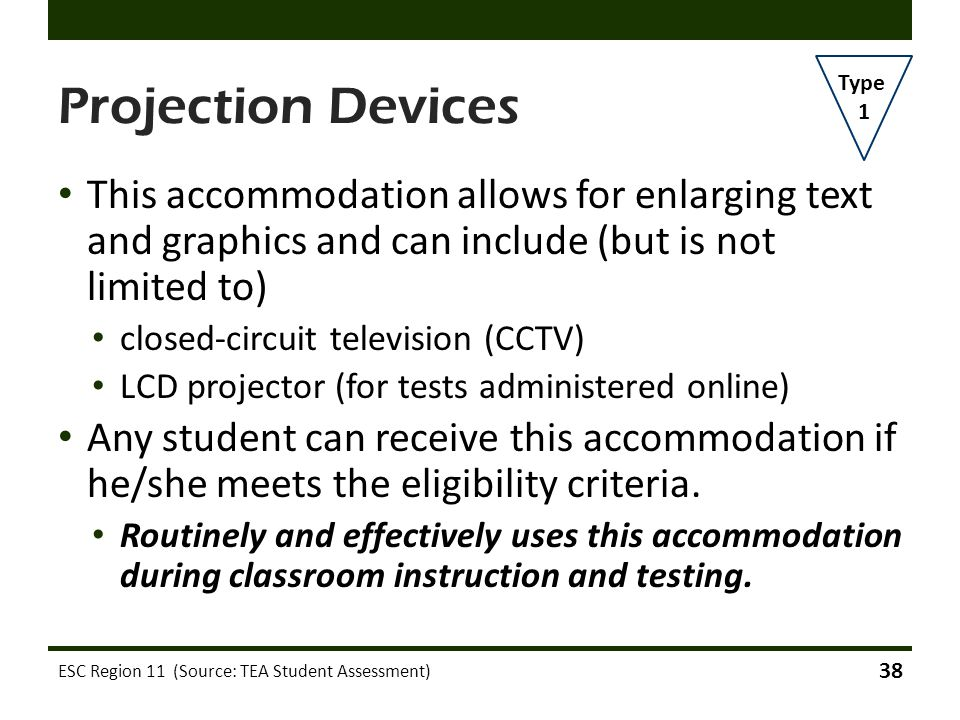 Projection Devices Type. 1. This accommodation allows for enlarging text and graphics and can include (but is not limited to)