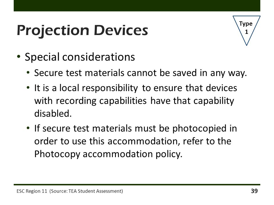 Projection Devices Special considerations