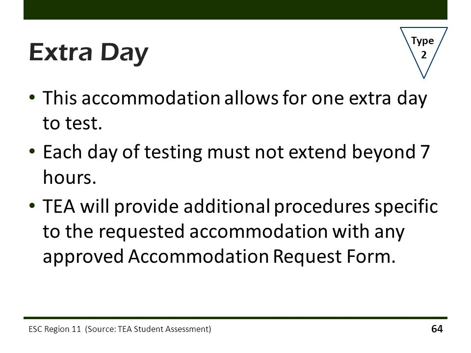 Extra Day This accommodation allows for one extra day to test.