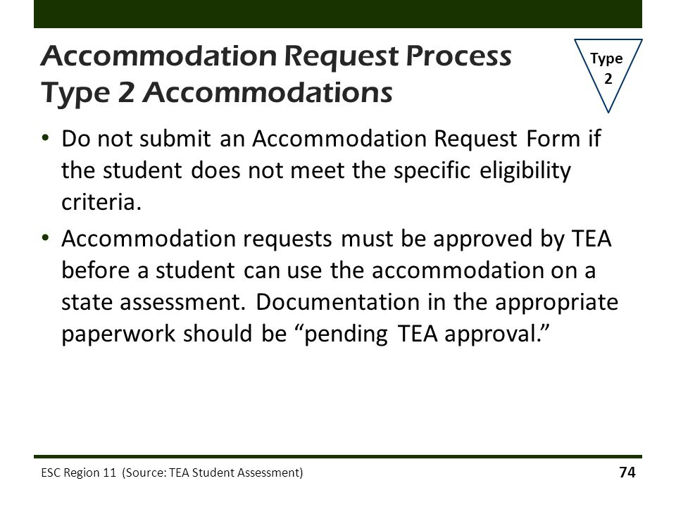 Accommodation Request Process Type 2 Accommodations