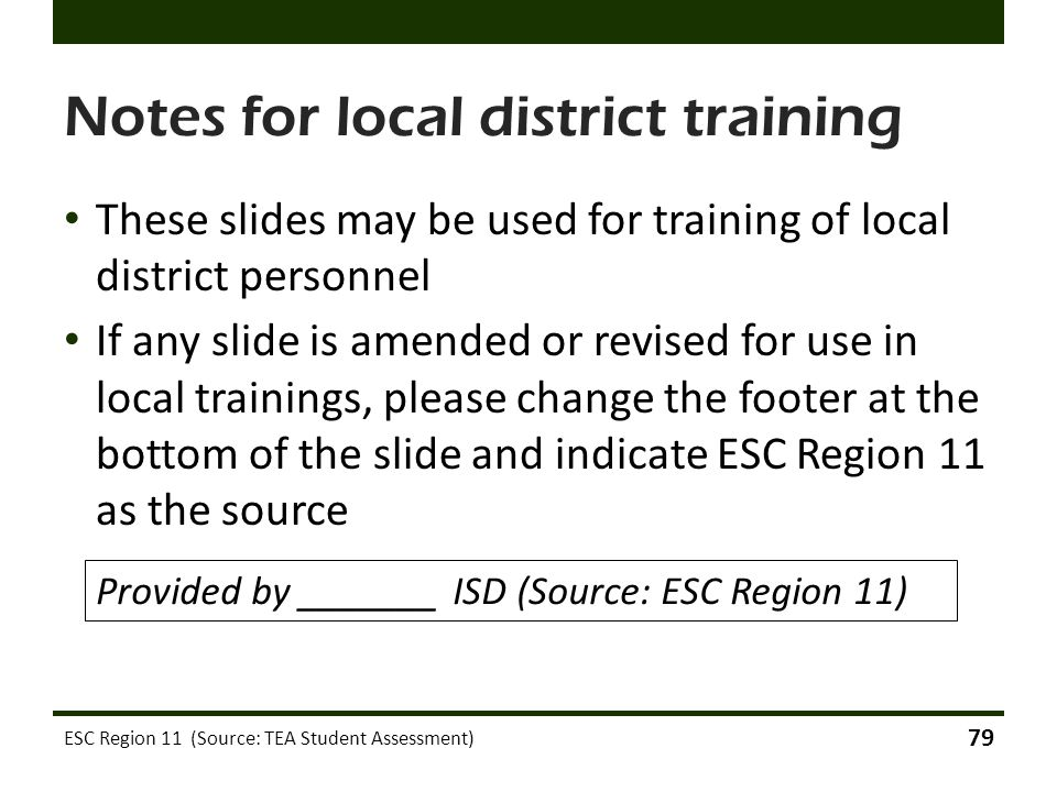 Notes for local district training
