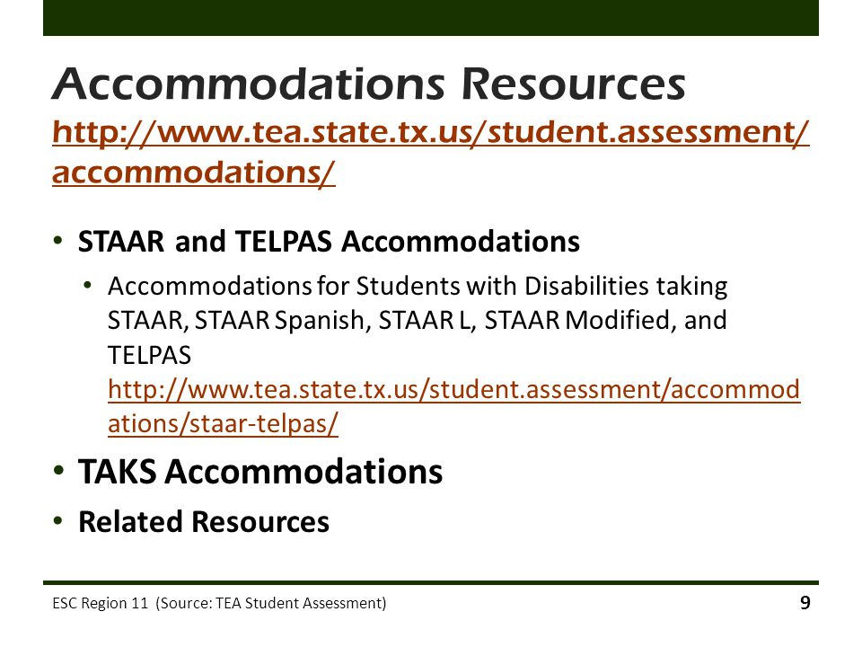 STAAR Accommodations for AI and VI students