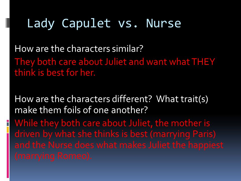 Lady Capulet vs. Nurse