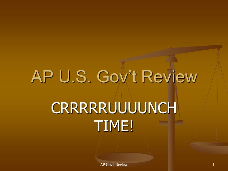 AP U.S. Gov't Review CRRRRRUUUUNCH TIME! AP Gov t Review