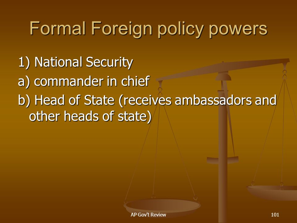 Formal Foreign policy powers