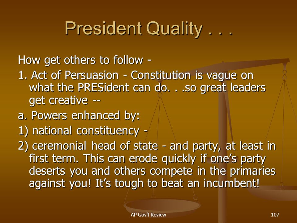 President Quality . . . How get others to follow -