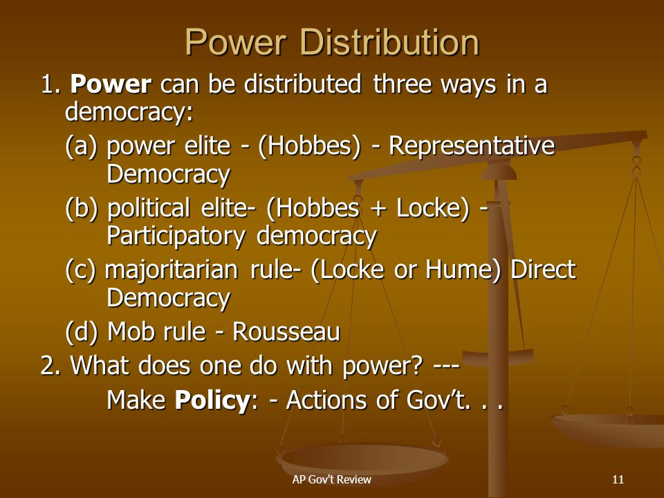 Power Distribution 1. Power can be distributed three ways in a democracy: (a) power elite - (Hobbes) - Representative Democracy.
