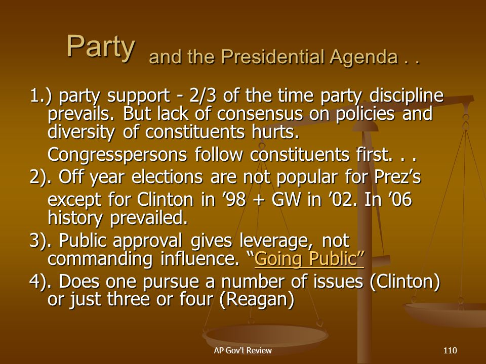 Party and the Presidential Agenda . .