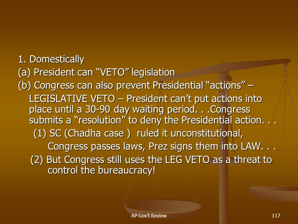 (a) President can VETO legislation