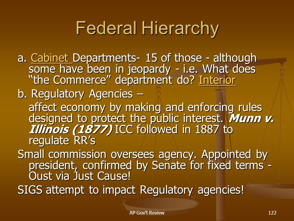 Federal Hierarchy a. Cabinet Departments- 15 of those - although some have been in jeopardy - i.e. What does the Commerce department do Interior.