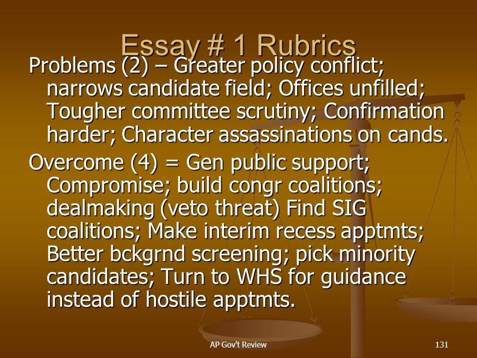 Essay # 1 Rubrics