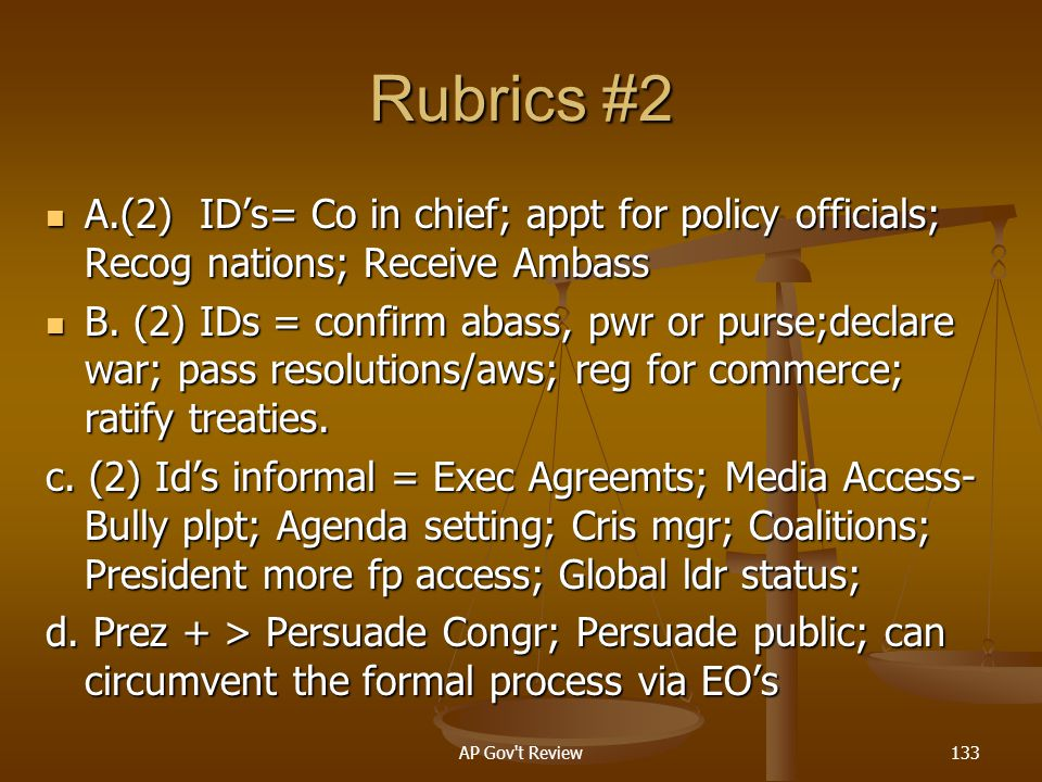 Rubrics #2 A.(2) ID's= Co in chief; appt for policy officials; Recog nations; Receive Ambass.