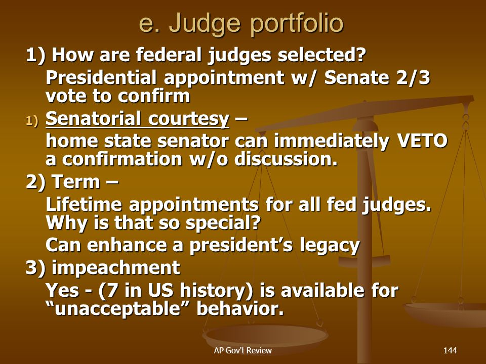 e. Judge portfolio 1) How are federal judges selected
