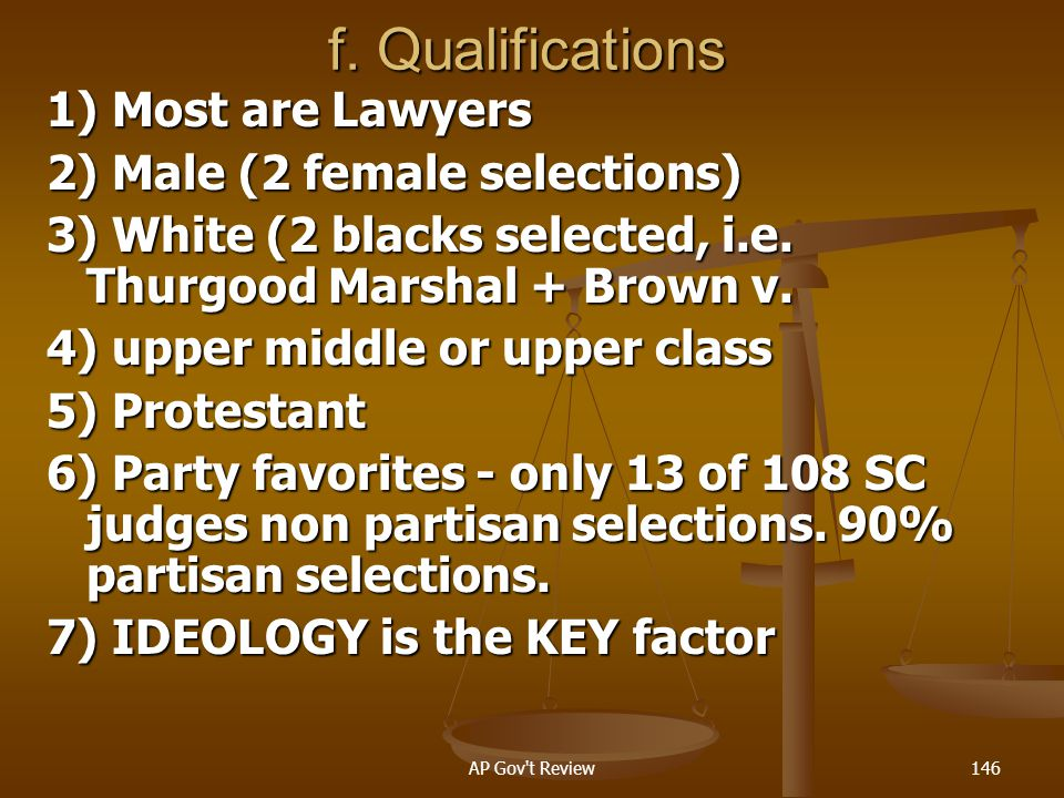 f. Qualifications 1) Most are Lawyers 2) Male (2 female selections)