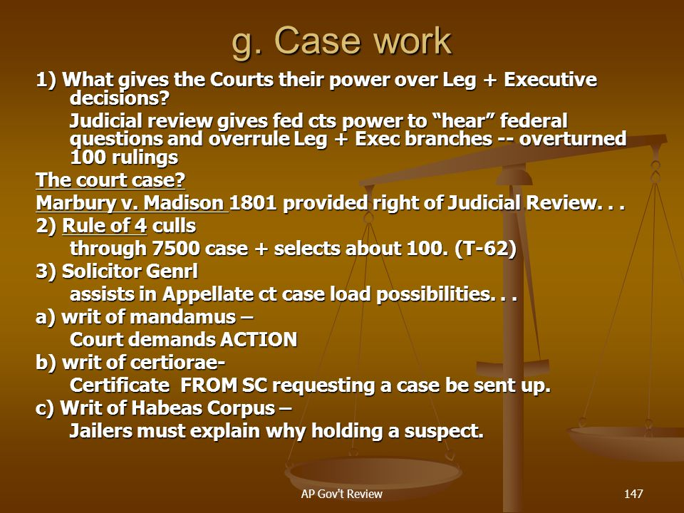 g. Case work 1) What gives the Courts their power over Leg + Executive decisions