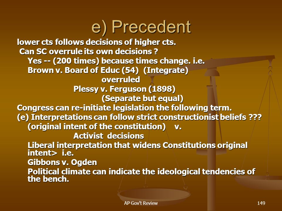 e) Precedent lower cts follows decisions of higher cts.