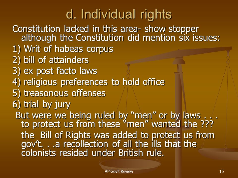 d. Individual rights Constitution lacked in this area- show stopper although the Constitution did mention six issues: