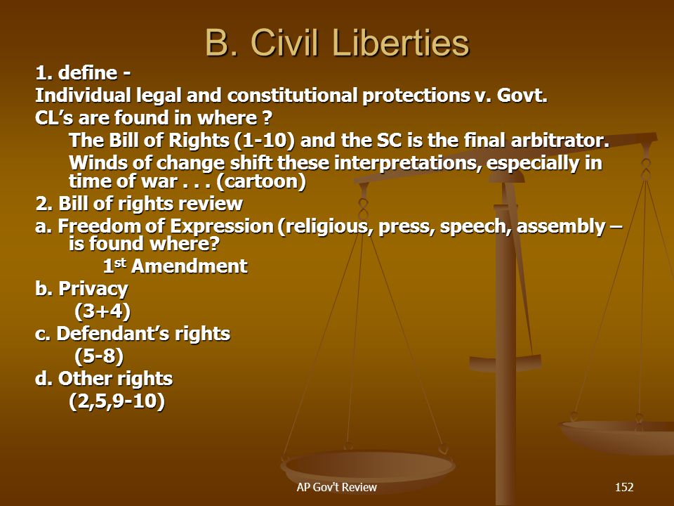B. Civil Liberties 1. define -