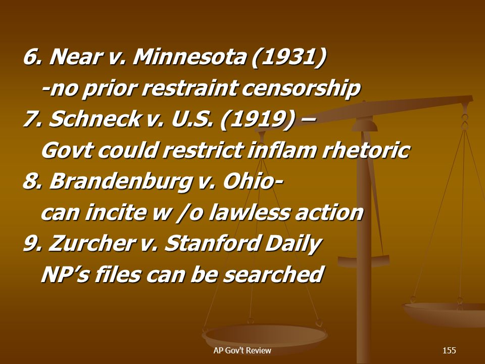 -no prior restraint censorship 7. Schneck v. U.S. (1919) –