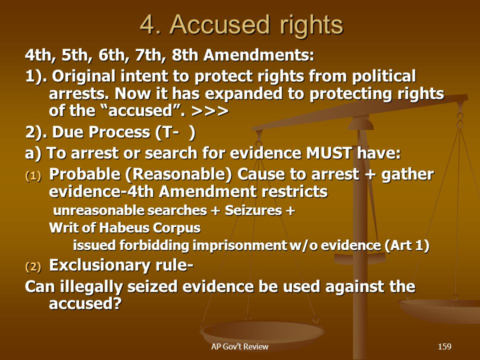 4. Accused rights 4th, 5th, 6th, 7th, 8th Amendments: