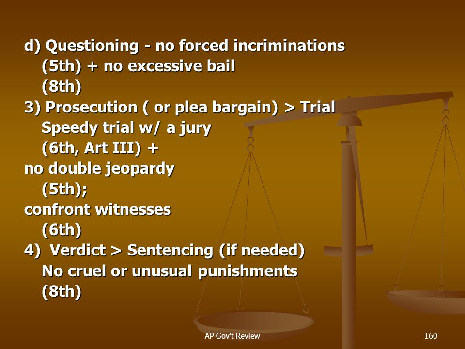 d) Questioning - no forced incriminations (5th) + no excessive bail