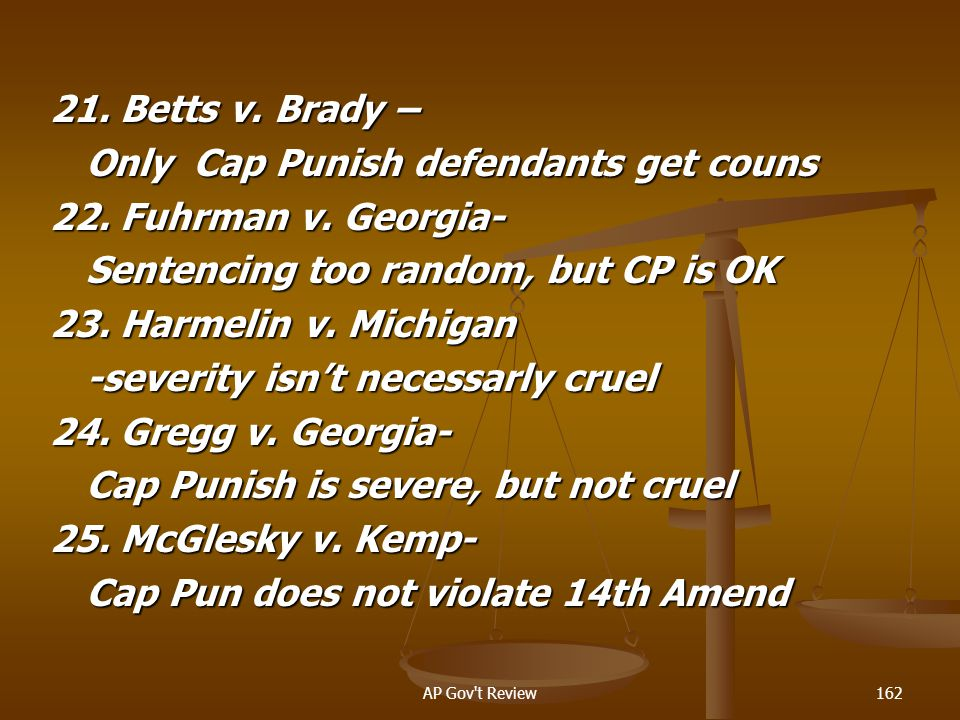 Only Cap Punish defendants get couns 22. Fuhrman v. Georgia-