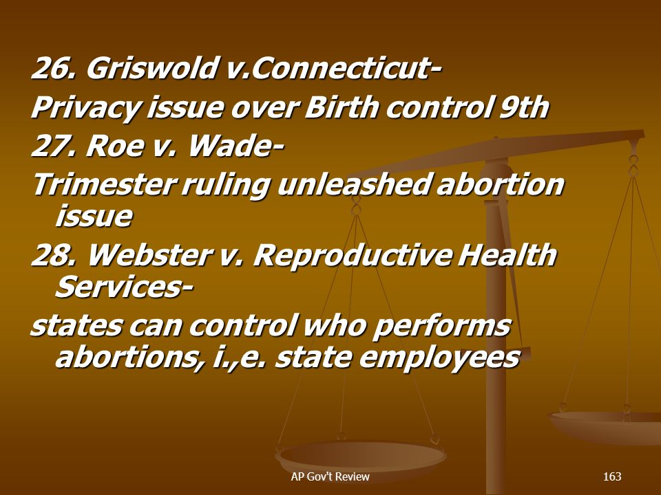 26. Griswold v.Connecticut- Privacy issue over Birth control 9th