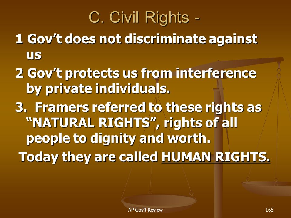 C. Civil Rights - 1 Gov't does not discriminate against us