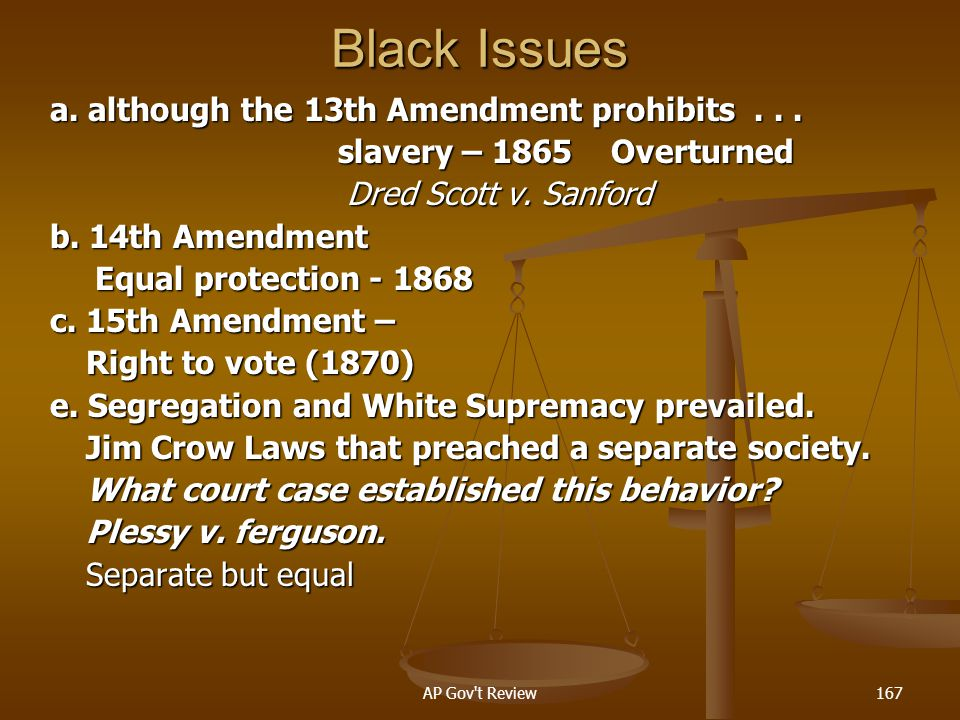 Black Issues a. although the 13th Amendment prohibits . . .
