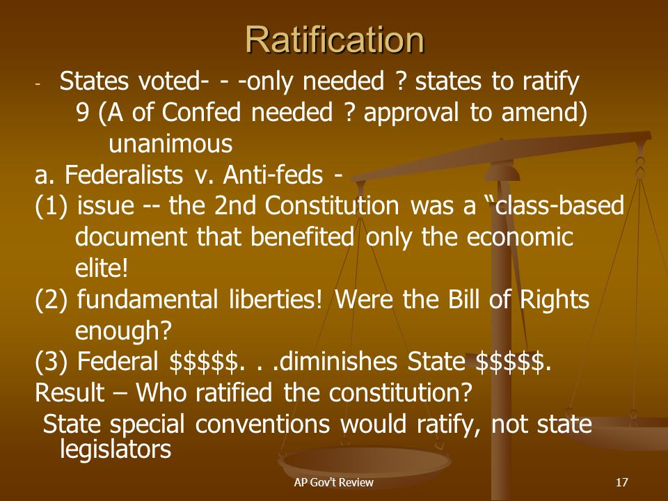Ratification States voted- - -only needed states to ratify