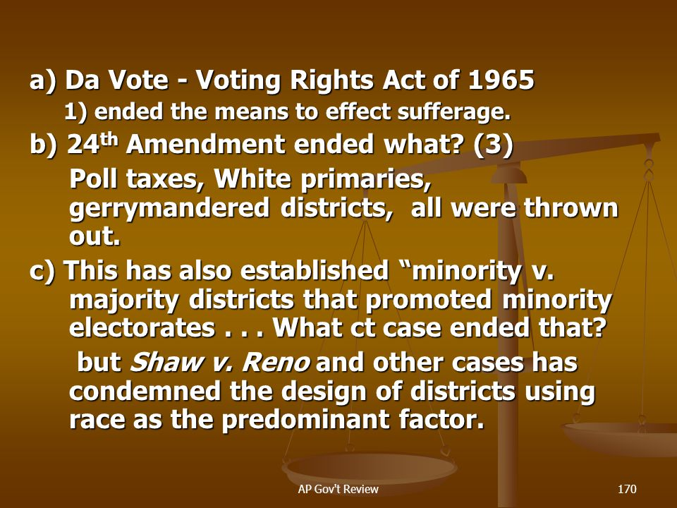 a) Da Vote - Voting Rights Act of 1965
