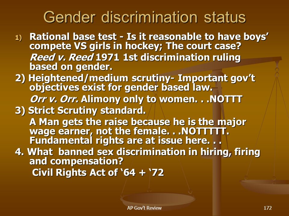 Gender discrimination status