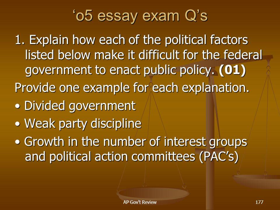 'o5 essay exam Q's