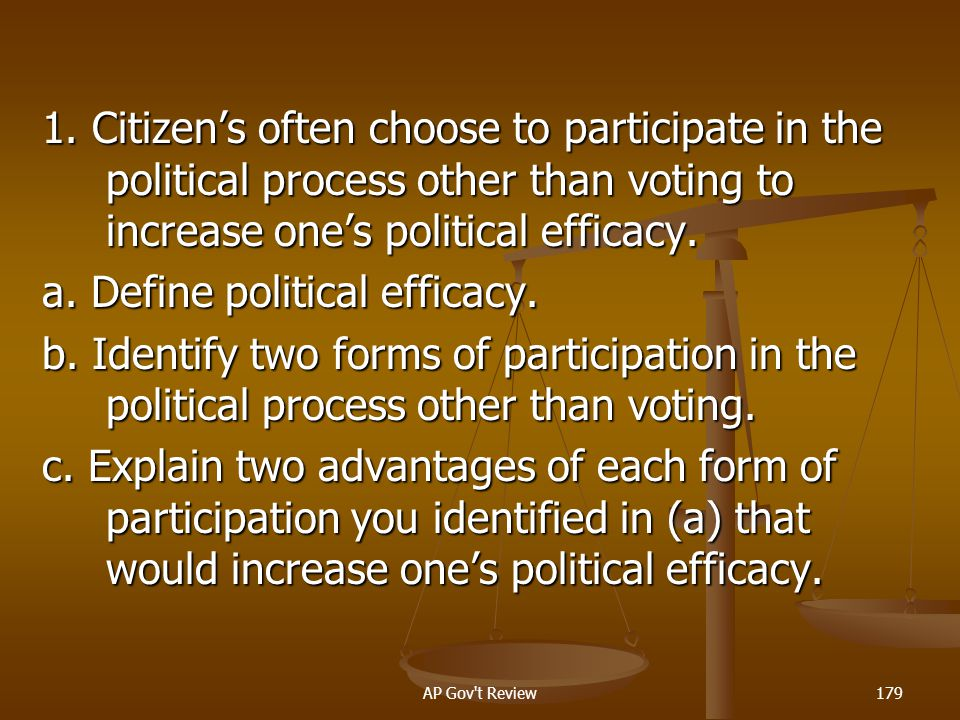 a. Define political efficacy.