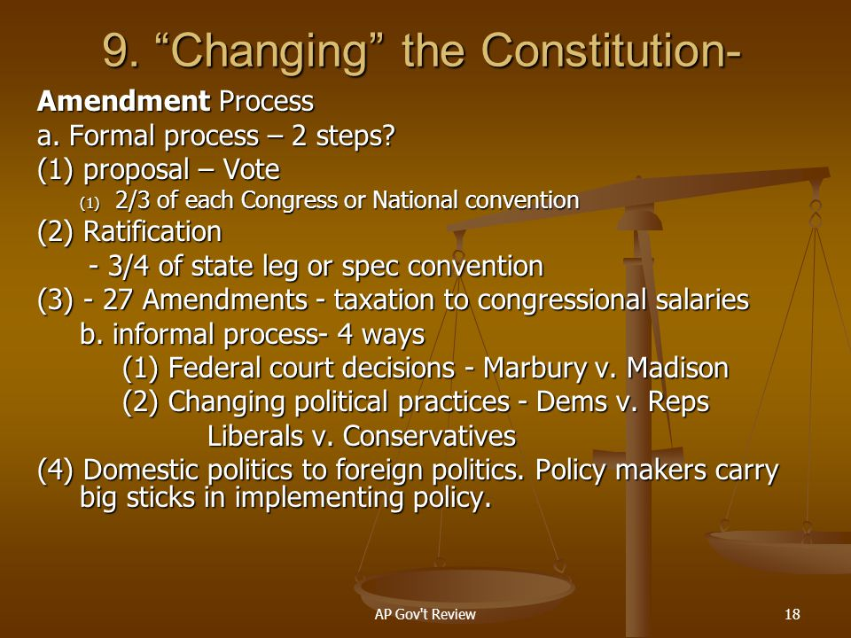 9. Changing the Constitution-