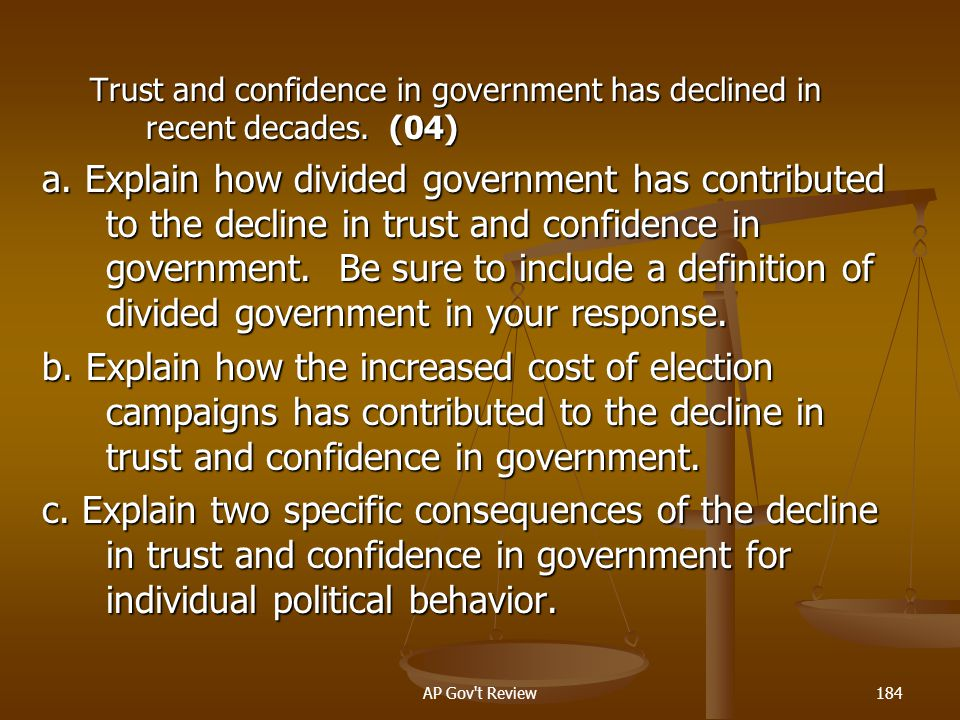 Trust and confidence in government has declined in recent decades. (04)