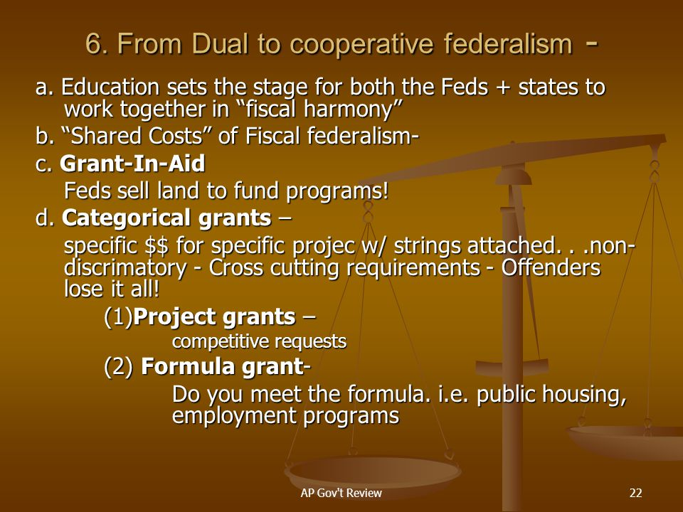 6. From Dual to cooperative federalism -