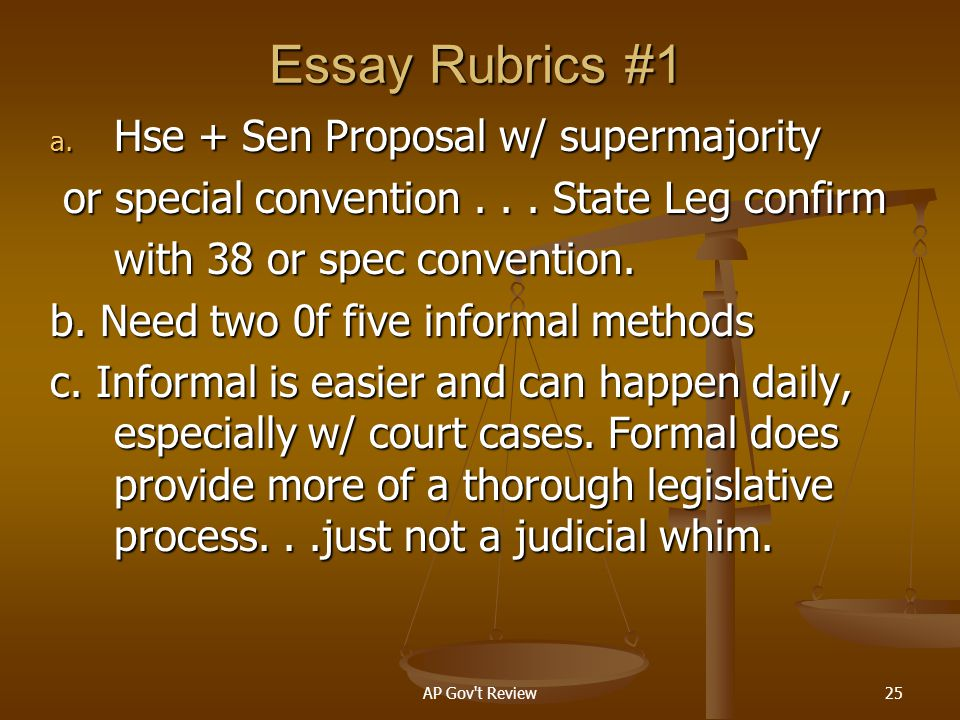 Essay Rubrics #1 Hse + Sen Proposal w/ supermajority