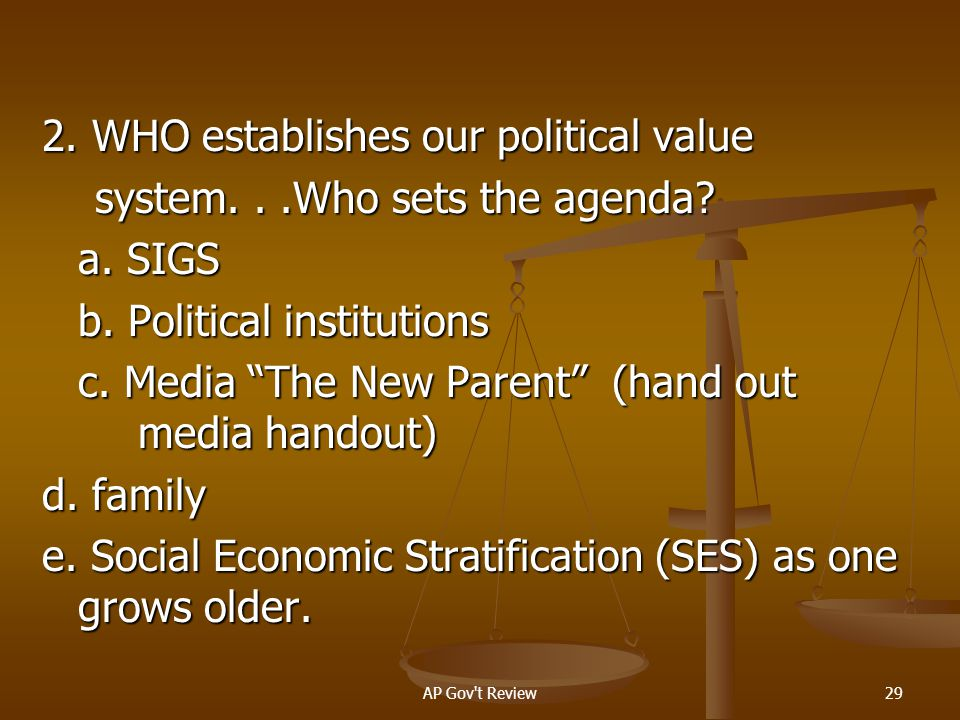 2. WHO establishes our political value system. . .Who sets the agenda