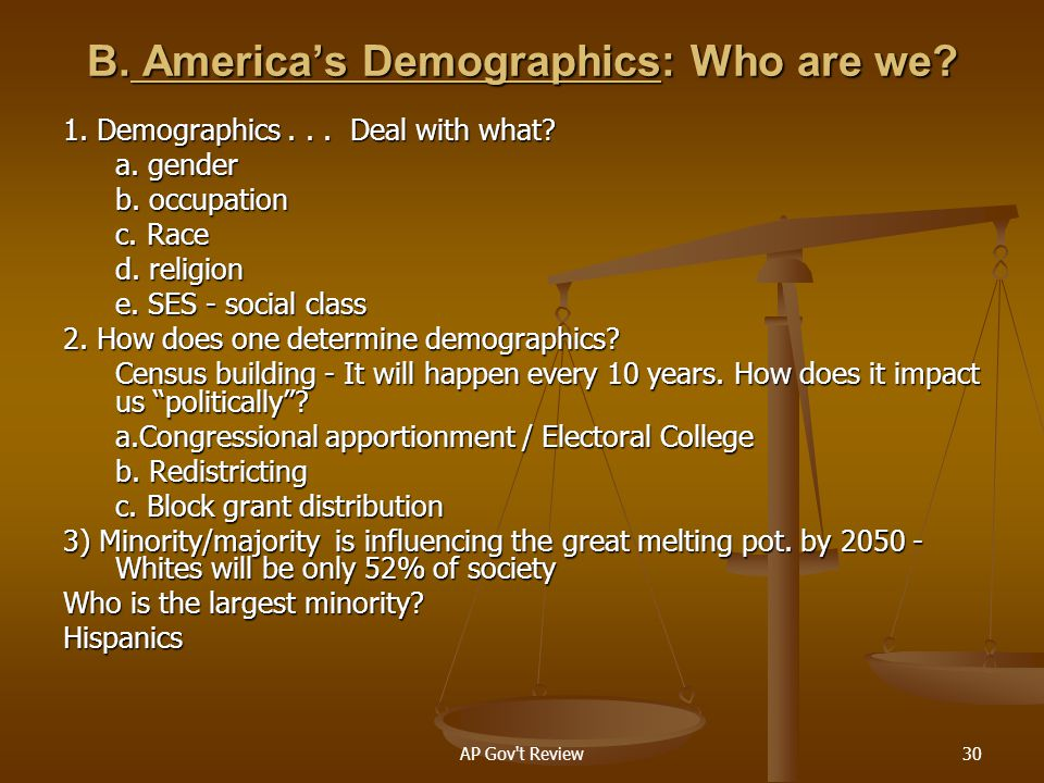 B. America's Demographics: Who are we