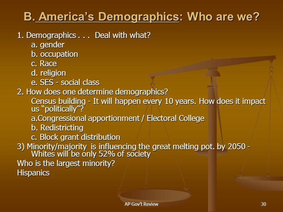B. America's Demographics: Who are we