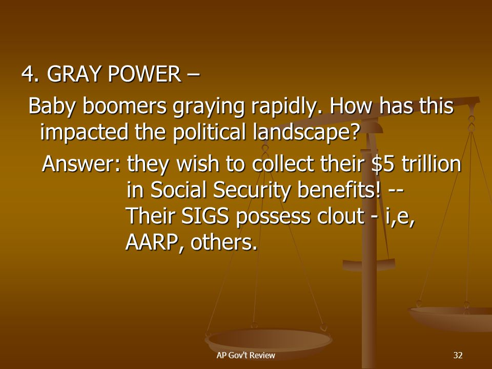 4. GRAY POWER – Baby boomers graying rapidly. How has this impacted the political landscape