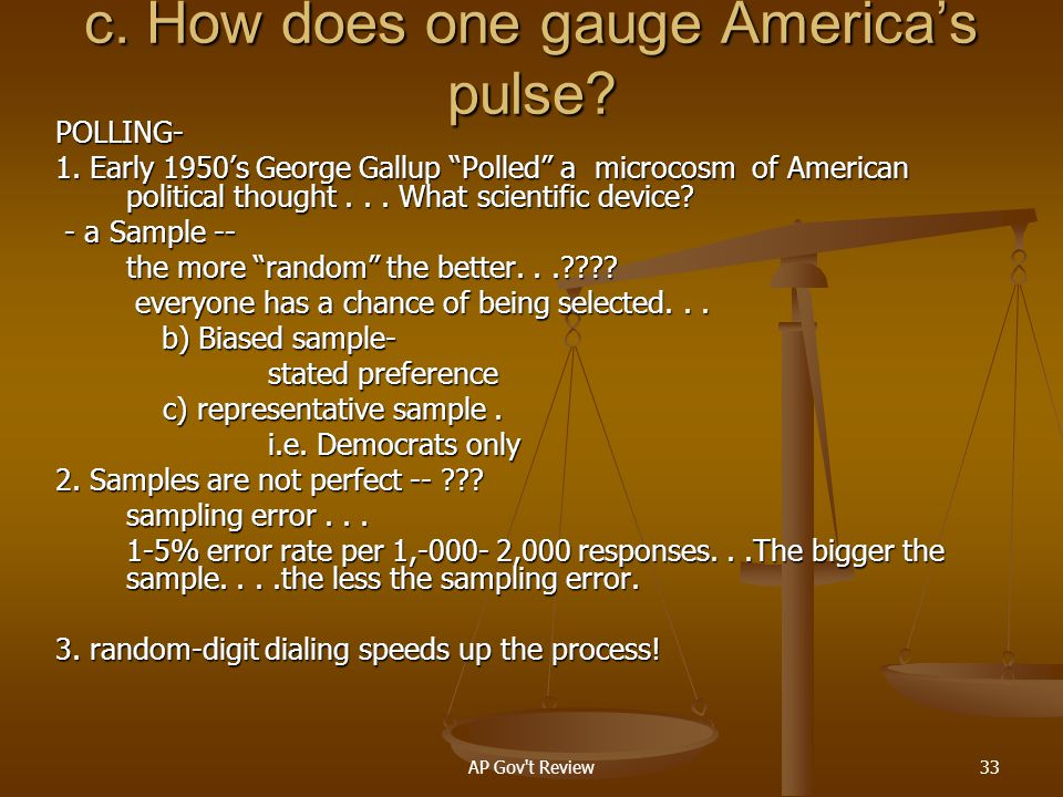 c. How does one gauge America's pulse