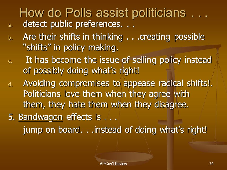 How do Polls assist politicians . . .